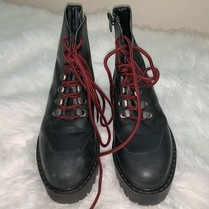 Zara leather combat boots with chunky platform